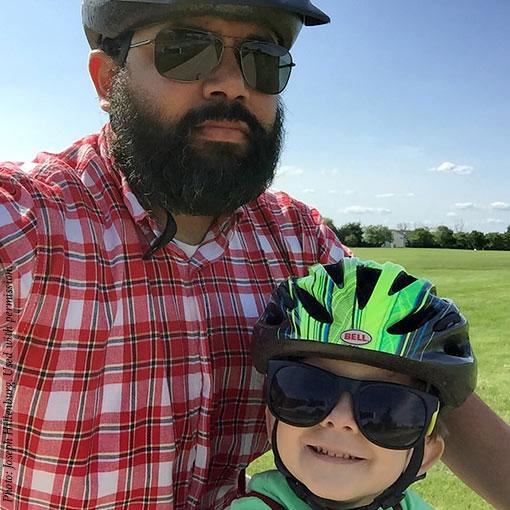 Ben Hillenburg, and his father, Joseph Hillenburg, take a bike ride. Photo credits: (c)2015 Joseph Hillenburg. Used with permission.